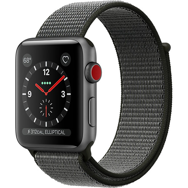 Apple Watch Series 3 42mm Space Gray Aluminum Case with Dark Olive Sport Loop - GPS + Cellular اپل واچ سری 3 اسپرت مردانه 42 میلیمتری Space Gray Aluminum Case with Dark Olive Sport Loop - سلولار