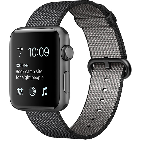 Apple Watch Series 2 Sport 42mm Space Gray Aluminum Case with Black Woven Nylon اپل واچ سری 2 اسپرت مردانه مدل Space Gray Aluminum Case with Black Woven Nylon