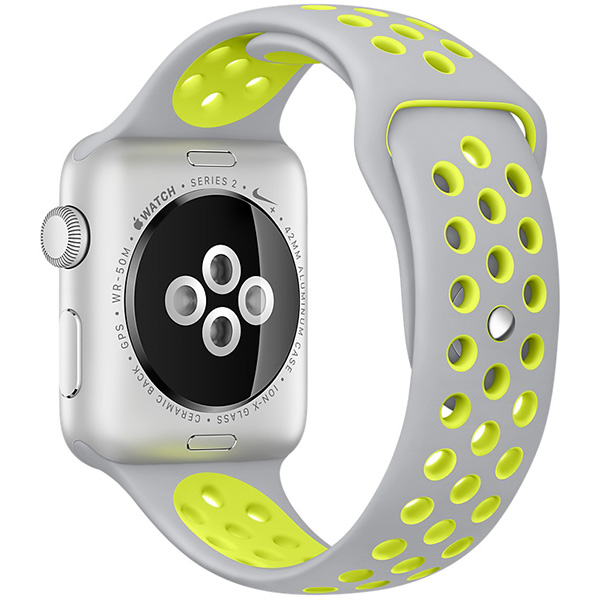 Apple Watch Nike+ Series 42mm Silver Aluminum Case with Flat Silver Volt Nike Sport Band MNYQ2 اپل واچ سری نایکی پلاس مردانه 42 میلیمتری Silver Aluminum Case with Flat Silver Volt Nike Sport Band