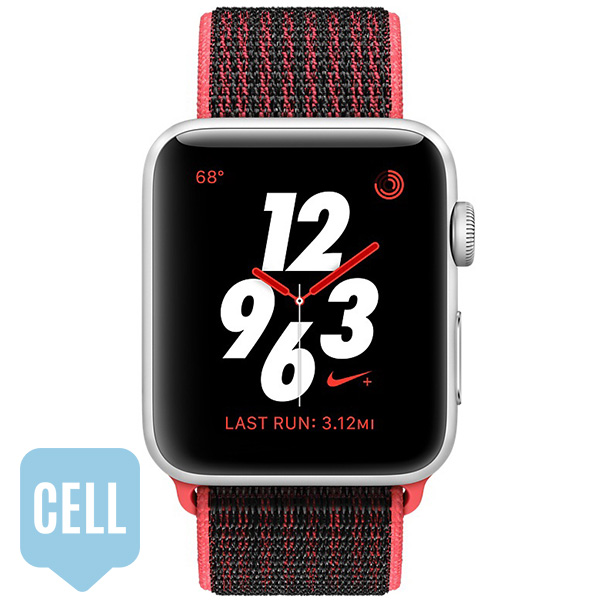Apple Watch Series 3 42mm Silver Aluminum Case with Bright Crimson Black Nike Sport Loop - Cellular