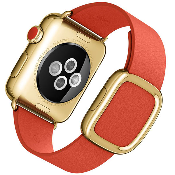 Apple Watch Edition 38mm 18-Karat Yellow Gold Bright Red Modern Buckle MJ3G2 اپل واچ ادیشن زنانه طلا 18 عیار - Yellow Gold Bright Red Modern Buckle MJ3G2