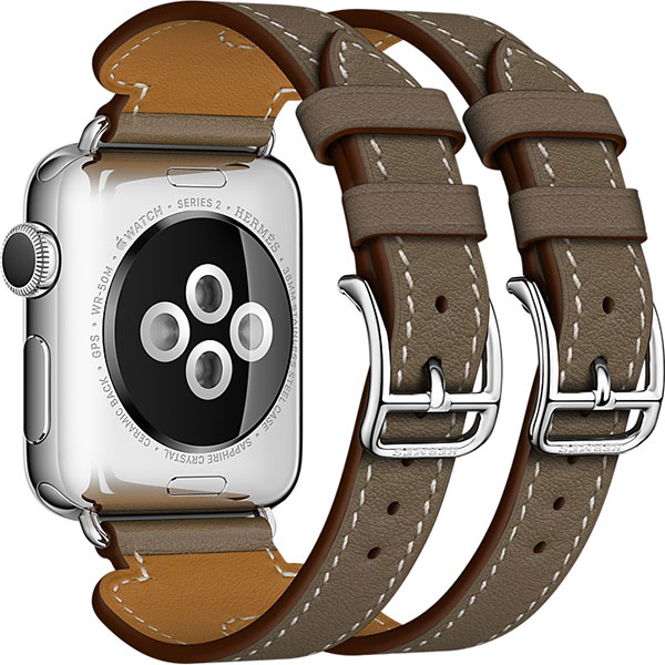 Apple Watch Series 2 Hermes 38mm Stainless Steel Case with Etoupe Swift Leather Double Buckle Cuff اپل واچ سری 2 هرمس زنانه مدل Stainless Steel Case with Etoupe Swift Leather Double Buckle Cuff