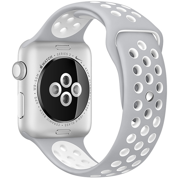 Apple Watch Nike+ Series 38mm Silver Aluminum Case with Flat Silver White Nike Sport Band MNNQ2 اپل واچ سری نایکی پلاس زنانه 38 میلیمتری Silver Aluminum Case with Flat Silver White Nike Sport Band