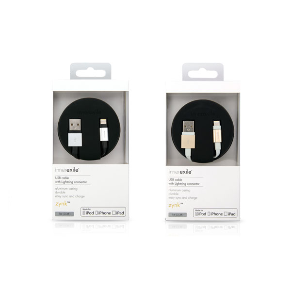 Innerexile zynk Lightning to USB Cable 1m (Gold,White) اینرگزایل کابل لایتنینگ زینک 1 متر سفید طلایی