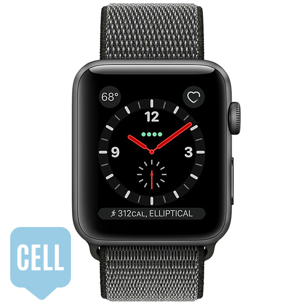 Apple Watch Series 3 38mm Space Gray Aluminum Case with Dark Olive Sport Loop - GPS + Cellular