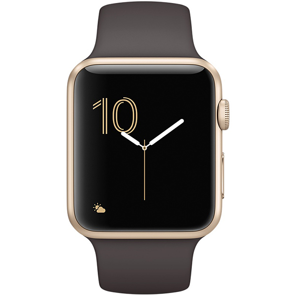 Apple Watch Series 2 Sport 42mm Gold Aluminum Case with Cocoa Sport Band اپل واچ سری 2 اسپرت مردانه مدل Gold Aluminum Case with Cocoa Sport Band