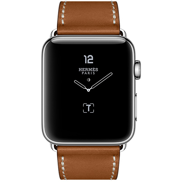 Apple Watch Series 2 Hermes 42mm Stainless Steel Case with Fauve Barenia Leather Single Tour Deployment Buck