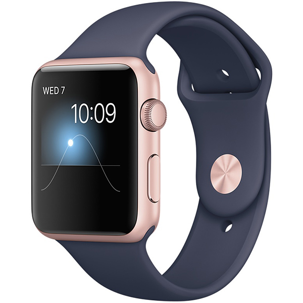 Apple Watch Series 1 Sport 42mm Rose Gold Aluminum Case with Midnight Blue Sport Band اپل واچ سری 1 اسپرت مردانه مدل Rose Gold Aluminum Case with Midnight Blue Sport Band