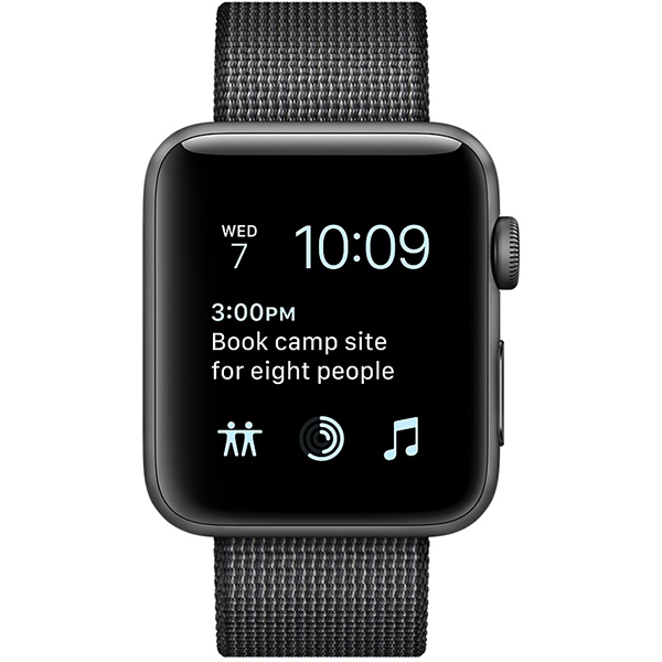 Apple Watch Series 2 Sport 38mm Space Gray Aluminum Case with Black Woven Nylon