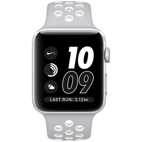 Apple Watch Nike+ Series 38mm Silver Aluminum Case with Flat Silver White Nike Sport Band MNNQ2