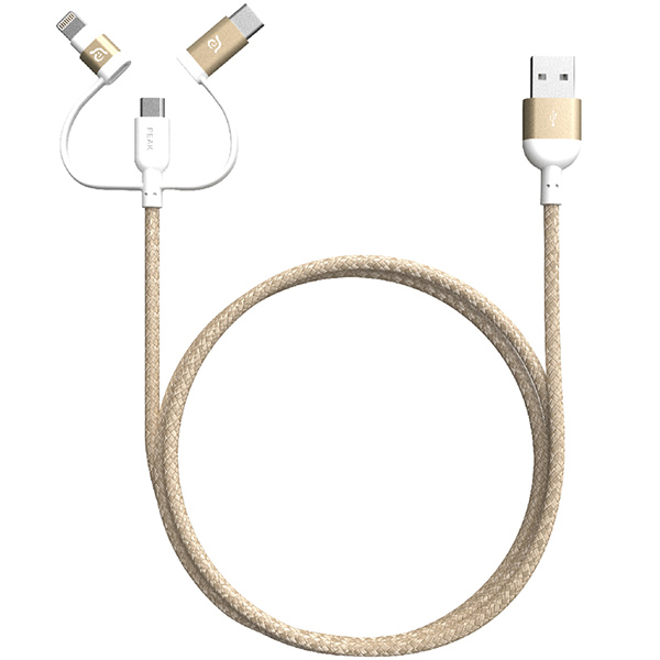 Adam Elements PeAk II Trio 120B MFi Lightning Cable USB-C, Micro USB 1.2m - Red آدام المنتس کابل تبدیل USB به Micro USB و لایتنینگ و USB-C مدل PeAk II Trio 120B قرمز