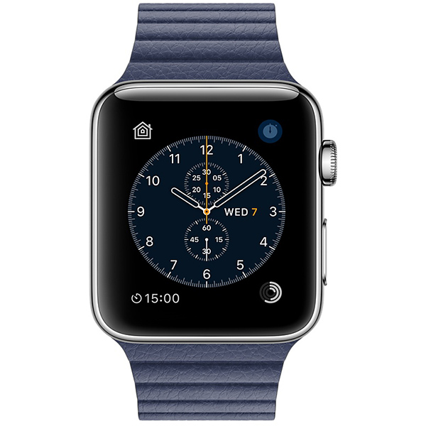 Apple Watch Series 2 42mm Stainless Steel Case with Midnight Blue Leather Loop