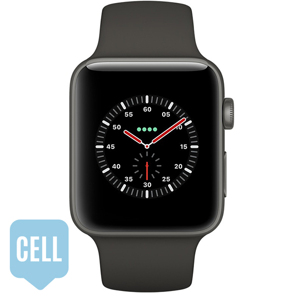 Apple Watch Series 3 42mm Gray Ceramic Case with Gray Black Sport Band - GPS + Cellular