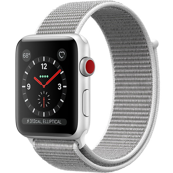 Apple Watch Series 3 38mm Silver Aluminum Case with Seashell Sport Loop - GPS + Cellular اپل واچ سری 3 اسپرت زنانه 38 میلیمتری مدل Silver Aluminum Case with Seashell Sport Loop - سلولار