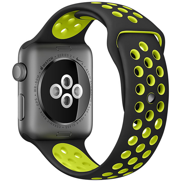 Apple Watch Nike+ Series 38mm Space Gray Aluminum Case with Black Volt Nike Sport Band MP082 اپل واچ سری نایکی پلاس زنانه 38 میلیمتری مدل Space Gray Aluminum Case with Black Volt Nike Sport Band