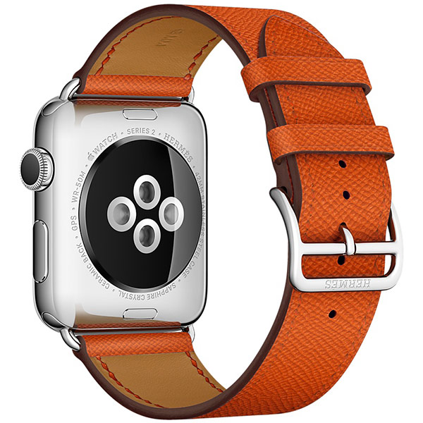 Apple Watch Series 2 Hermes 42mm Stainless Steel Case with Feu Epsom Leather Single Tour اپل واچ سری 2 هرمس مردانه مدل Stainless Steel Case with Feu Epsom Leather Single Tour