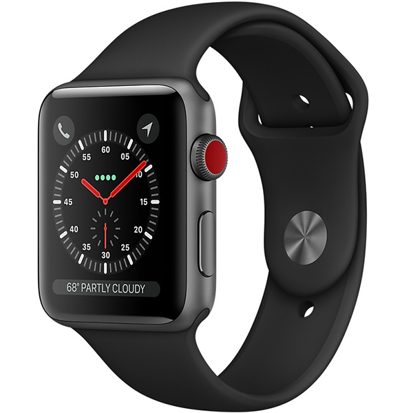 Apple Watch Series 3 42mm Space Gray Aluminum Case with Black Sport Band - GPS + Cellular اپل واچ سری 3 اسپرت مردانه 42 میلیمتری مدل Space Gray Aluminum Case with Black Sport Band - سلولار