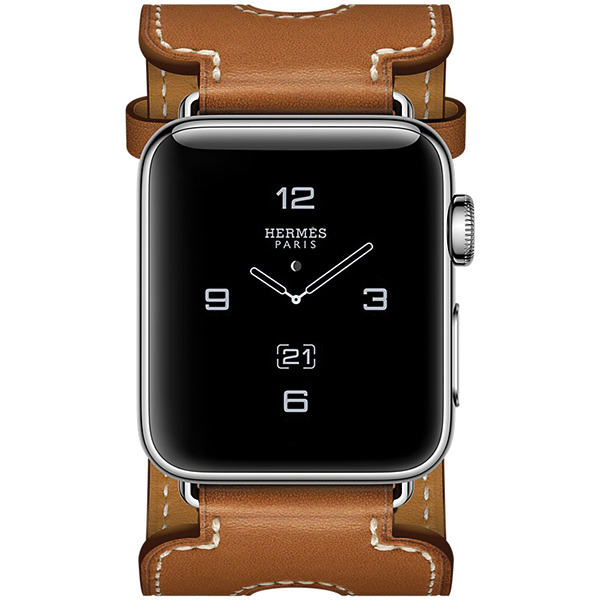 Apple Watch Series 2 Hermes 38mm Stainless Steel Case with Fauve Barenia Leather Double Buckle Cuff