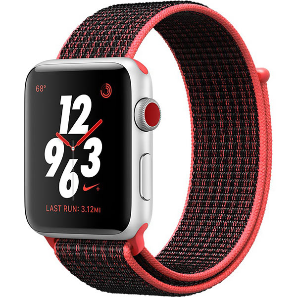 Apple Watch Series 3 42mm Silver Aluminum Case with Bright Crimson Black Nike Sport Loop - Cellular اپل واچ سری 3 نایکی پلاس مردانه 42 میلیمتری Silver Aluminum Case Bright Crimson Black Nike Sport Loop