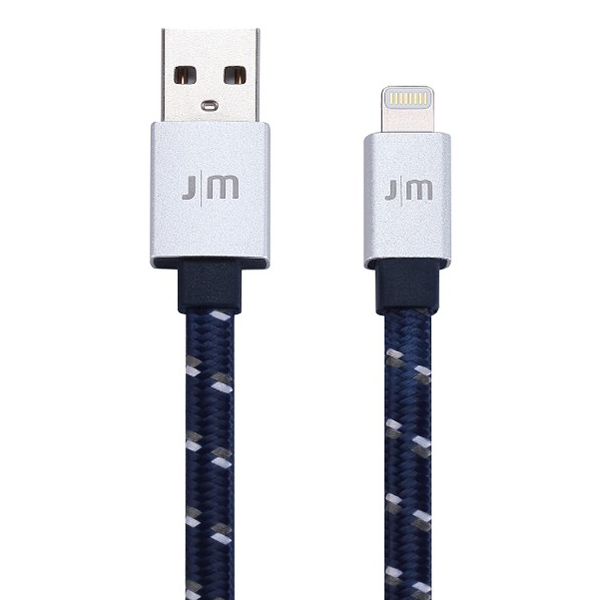 Just Mobile 1.2m AluCable Flat Braided Lightning Cable Silver DC-268BSI