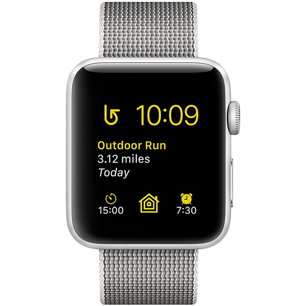 Apple Watch Series 2 Sport 42mm Silver Aluminum Case with Pearl Woven Nylon