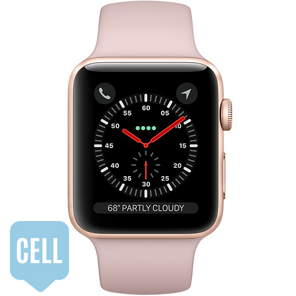 Apple Watch Series 3 38mm Gold Aluminum Case with Pink Sand Sport Band - GPS + Cellular