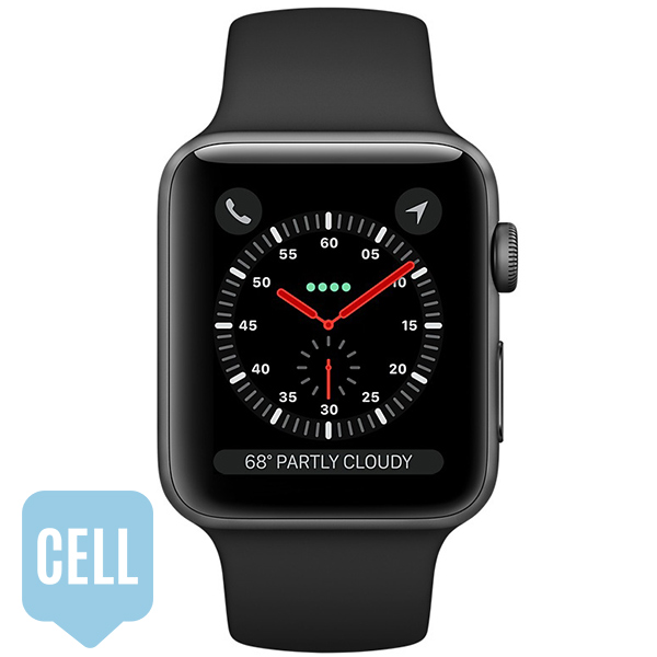 Apple Watch Series 3 38mm Space Gray Aluminum Case with Black Sport Band - GPS + Cellular