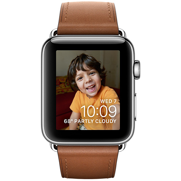 Apple Watch Series 2 38mm Stainless Steel Case with Saddle Brown Classic Buckle