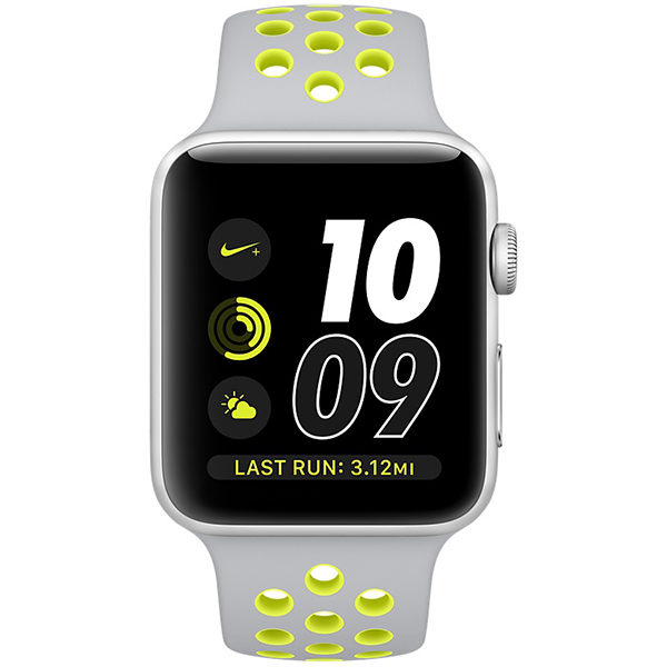Apple Watch Nike+ Series 42mm Silver Aluminum Case with Flat Silver Volt Nike Sport Band MNYQ2