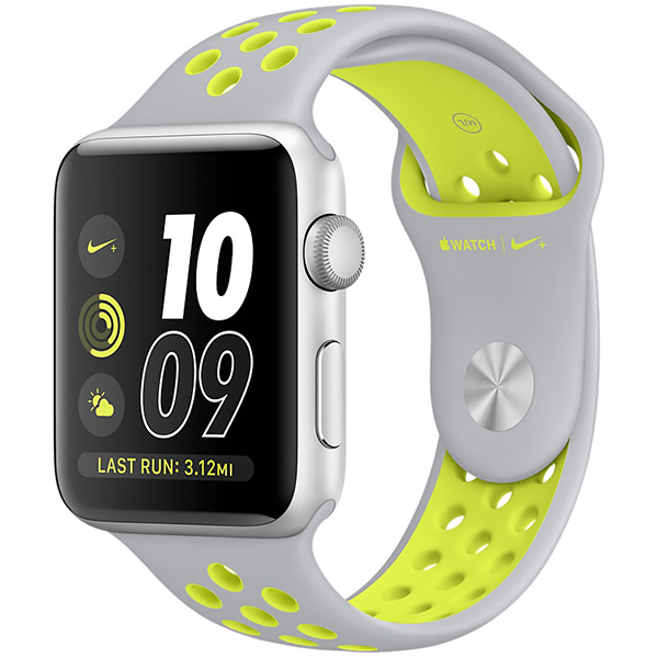 Apple Watch Nike+ Series 38mm Silver Aluminum Case with Flat Silver Volt Nike Sport Band MNYP2 اپل واچ سری نایکی پلاس زنانه 38 میلیمتری Silver Aluminum Case with Flat Silver Volt Nike Sport Band