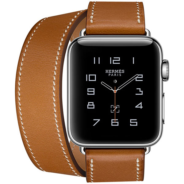 Apple Watch Series 2 Hermes 38mm Stainless Steel Case with Fauve Barenia Leather Double Tour