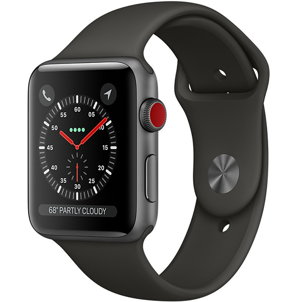 Apple Watch Series 3 42mm Space Gray Aluminum Case with Gray Sport Band - GPS + Cellular اپل واچ سری 3 اسپرت مردانه 42 میلیمتری مدل Space Gray Aluminum Case with Gray Sport Band - سلولار