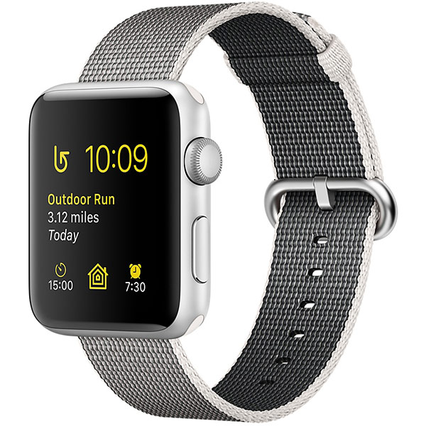 Apple Watch Series 2 Sport 42mm Silver Aluminum Case with Pearl Woven Nylon اپل واچ سری 2 اسپرت مردانه مدل Silver Aluminum Case with Pearl Woven Nylon