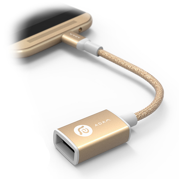 Adam Elements PeAk AFB13 Micro USB Male to USB-A Female Adapter - Gold آدام المنتس آداپتور مدل PeAk AFB13 تبدیل میکرو USB به USB طلایی