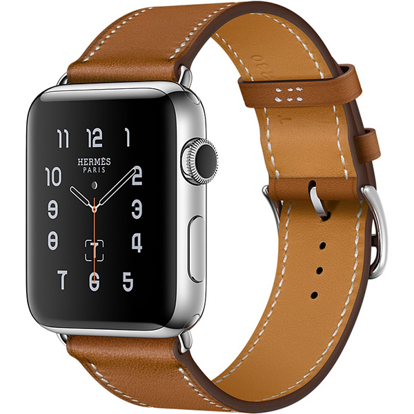 Apple Watch Series 2 Hermes 42mm Stainless Steel Case with Fauve Barenia Leather Single Tour اپل واچ سری 2 هرمس مردانه مدل Stainless Steel Case with Fauve Barenia Leather Single Tour