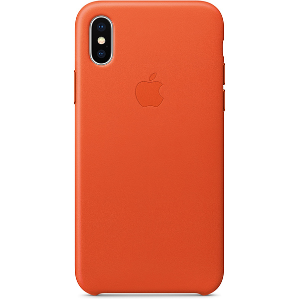 Apple iPhone X Leather Case - Bright Orange اپل کیس چرم اپل مدل iPhone X Leather Case مخصوص آیفون ایکس - نارنجی