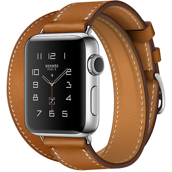 Apple Watch Series 2 Hermes 38mm Stainless Steel Case with Fauve Barenia Leather Double Tour اپل واچ سری 2 هرمس زنانه مدل Stainless Steel Case with Fauve Barenia Leather Double Tour