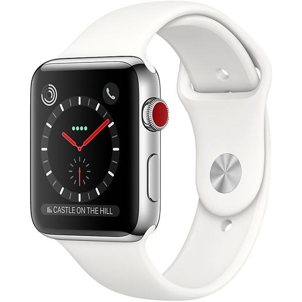 Apple Watch Series 3 38mm Stainless Steel Case with Soft White Sport Band - Cellular اپل واچ سری 3 استیل زنانه 38 میلیمتری Stainless Steel Case with Soft White Sport Band - سلولار