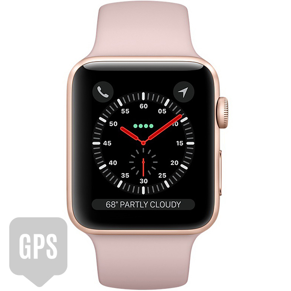 Apple Watch Series 3 42mm Gold Aluminum Case with Pink Sand Sport Band - GPS