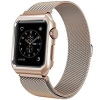 Mobest 42mm Milanese Stainless Steel Wrist Band with Metal Protective Case - Gold موبست بند اپل واچ 42 میلیمتری مدل Milanese Stainless Steel Wrist Band طلایی