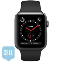 Apple Watch Series 3 38mm Space Black Stainless Steel Case with Black Sport Band - Cellular اپل واچ سری 3 استیل زنانه 38 میلیمتری Space Black Stainless Steel Case with Black Sport Band سلولا