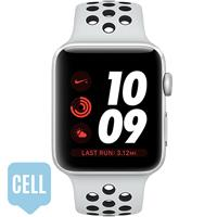 Apple Watch Series 3 42mm Silver Aluminum Case with Pure Platinum Black Nike Sport Band - Cellular اپل واچ سری 3 نایکی پلاس مردانه 42 میلیمتری Silver Aluminum Case with Pure Platinum Black Nike Sport Band