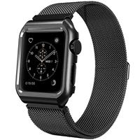 Mobest 38mm Milanese Stainless Steel Wrist Band with Metal Protective Case - Black موبست بند اپل واچ 38 میلیمتری مدل Milanese Stainless Steel Wrist Band مشکی