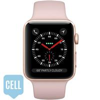 Apple Watch Series 3 38mm Gold Aluminum Case with Pink Sand Sport Band - GPS + Cellular اپل واچ سری 3 اسپرت زنانه 38 میلیمتری مدل Gold Aluminum Case with Pink Sand Sport Band - سلولار