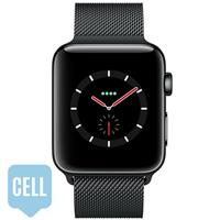 Apple Watch Series 3 42mm Space Black Stainless Steel Case with Space Black Milanese Loop - Cellular اپل واچ سری 3 استیل مردانه 42 میلیمتری Space Black Stainless Steel Case Space Black Milanese Loop