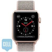 Apple Watch Series 3 38mm Gold Aluminum Case with Pink Sand Sport Loop - GPS + Cellular اپل واچ سری 3 اسپرت زنانه 38 میلیمتری مدل Gold Aluminum Case with Pink Sand Sport Loop - سلولار